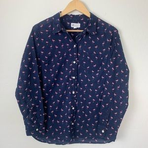 Gap flamingo fitted boyfriend shirt navy pink med